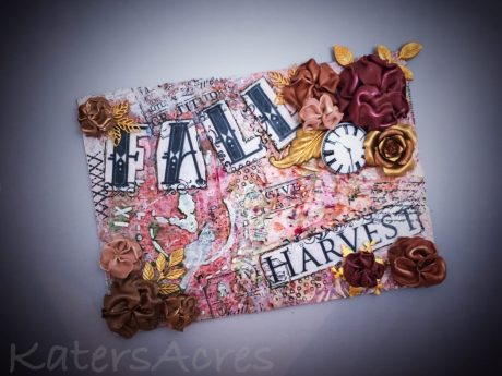 Mixed Media Fall Sculpted Flowers Canvas by Katie Oskin