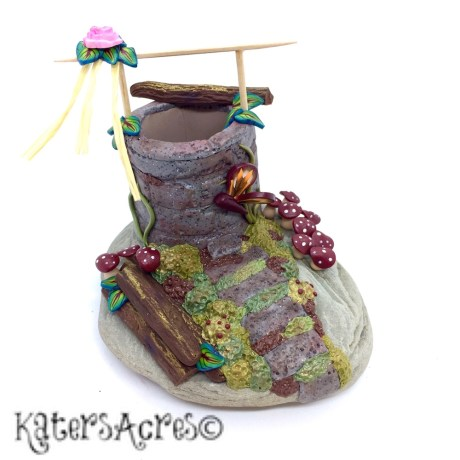 Polymer Clay Wishing Well by KatersAcres