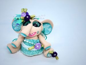 Marjorie Mae Fancy Jointed Elephant Doll by Katie Oskin