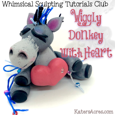 Polymer Clay Wiggly Donkey Holding Heart with Streamers Tutorial by KatersAcres