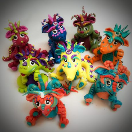 Julius & Friends, Polymer Clay Collectible Dragon | Handmade in USA by KatersAcres