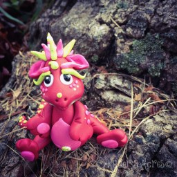 Ruby, Polymer Clay Dragon by Katie Oskin