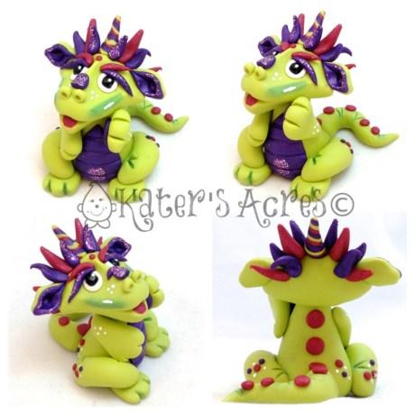 Rita polymer clay dragon by Katie Oskin