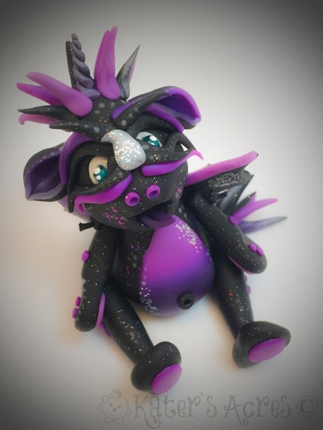 Andromeda polymer clay Galaxy Dragon by Katie Oskin