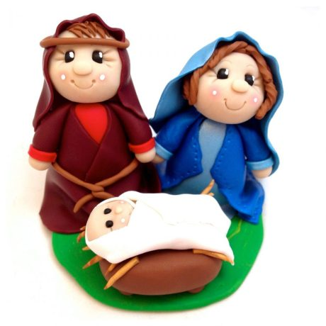 Polymer Clay Nativity Figurine - Holy Family featuring Mary Joseph & Baby Jesus | Holy Nativity by KatersAcres