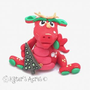 Holly, Polymer Clay Christmas Dragon by Kater's Acres