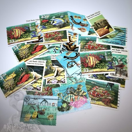 Canceled Oceanic Postage Stamps from Kater's Acres for Mixed Media | FREE Worksheet Included