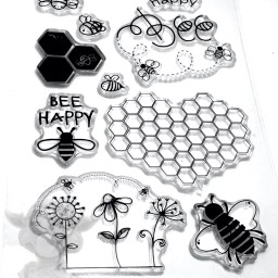 Bumble Bee Stamp Set for Polymer Clay, Mixed Media, & Scrapbooking from Kater's Acres