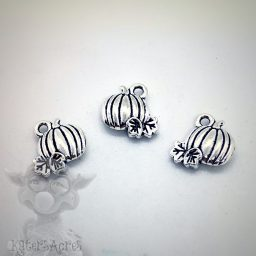 Pumpkin Charms, Set of 3, in Antiqued Silver Brass