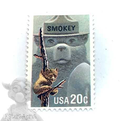 Smokie the Bear Postage Stamp for Polymer Clay & Mixed Media Ephemera from Kater's Acres