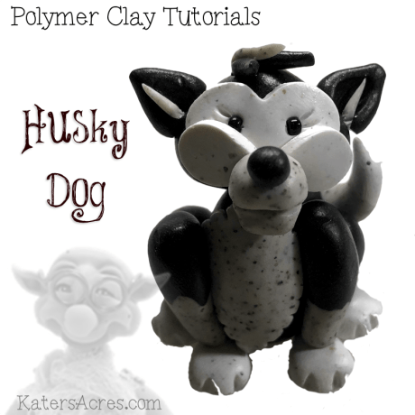 Husky Dog Polymer Clay Ornament Tutorial by KatersAcres