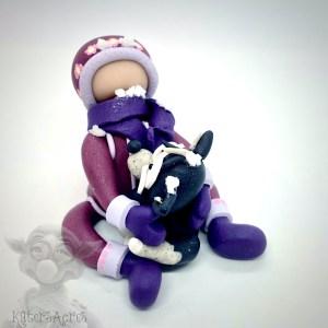 Arctic Girl Hugging Husky Dog by Katie Oskin of Kater's Acres