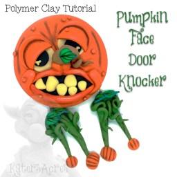 Polymer Clay PUMPKIN FACE DOOR KNOCKER Tutorial by KatersAcres