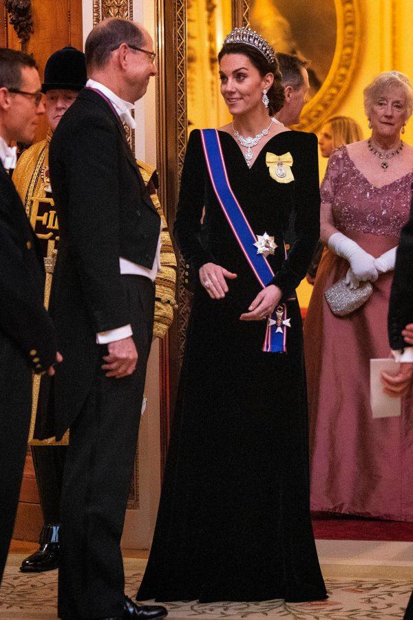 Kate Middleton Navy Velvet Gown
