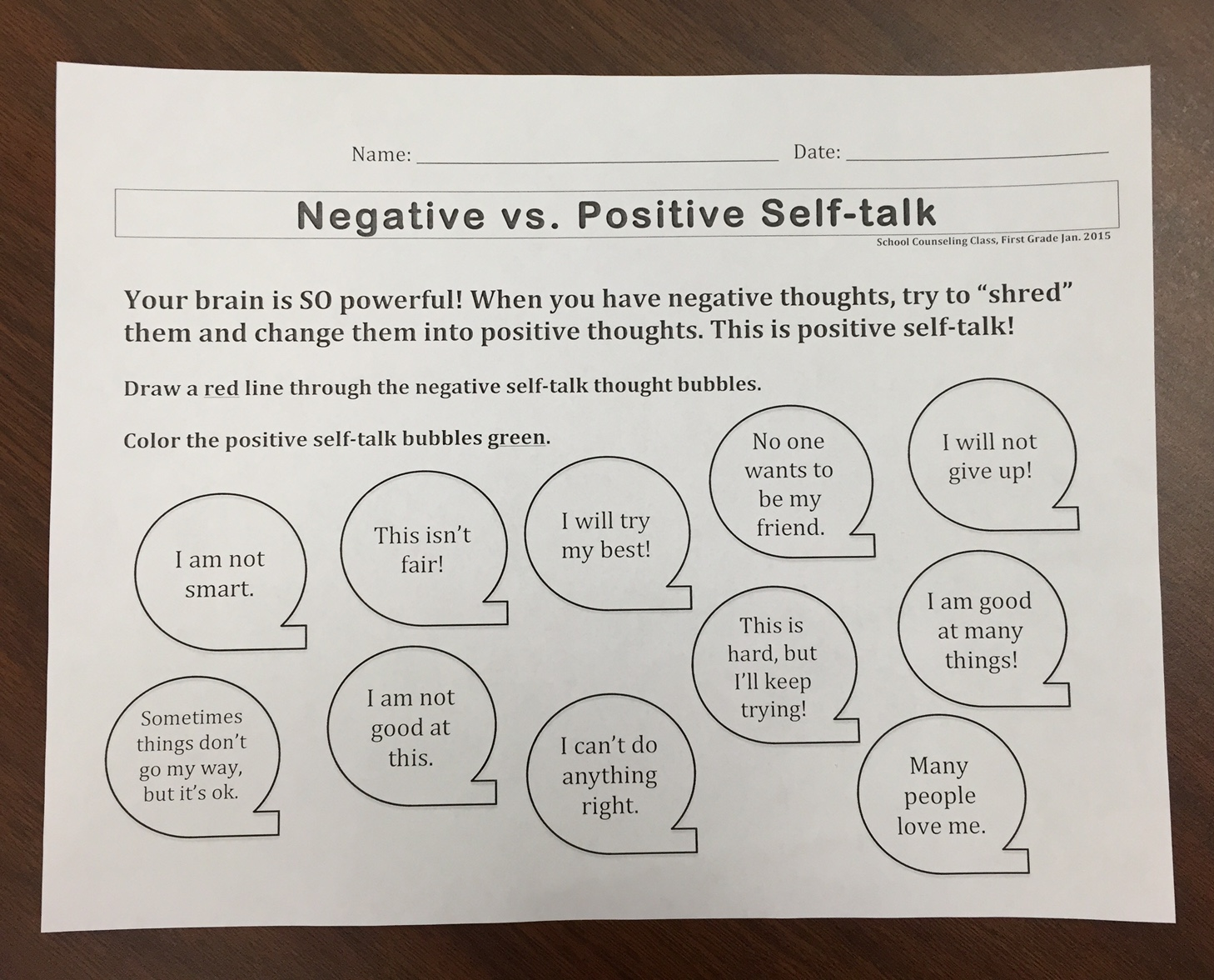 Positive Thoughts In First And Second Grades