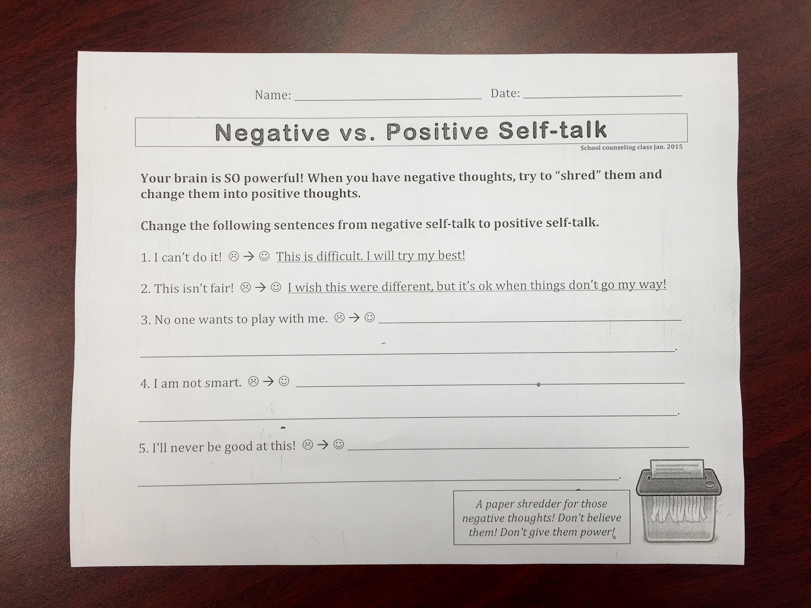 33 Positive Self Talk Worksheet