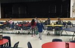 The girls worked on half of the lunchroom