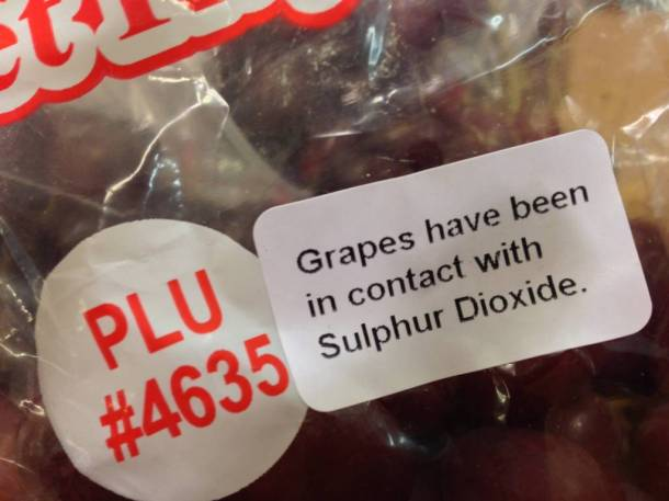 Sulphur Dioxide smells like farts... good thing these grapes were sprayed with it!