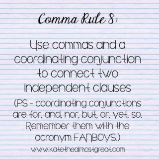 comma rules and coordinating conjunctions