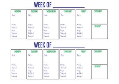 Printable 2 Week Blogger Calendar