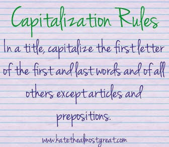 Capitalization rules for titles Kate the (Almost) Great