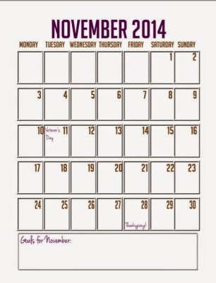Free Downloadable Calendar November - Kate the (Almost) Great