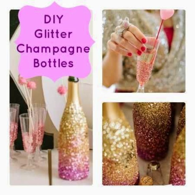DIY Glitter Champagne Bottle