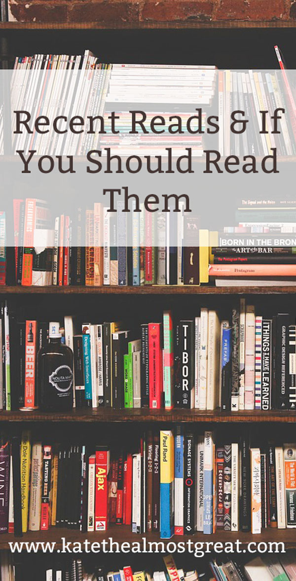 Looking for books to read this summer? Check out the books that I've read the past couple of months, my reviews of them, and pick one up for your next summer weekend.