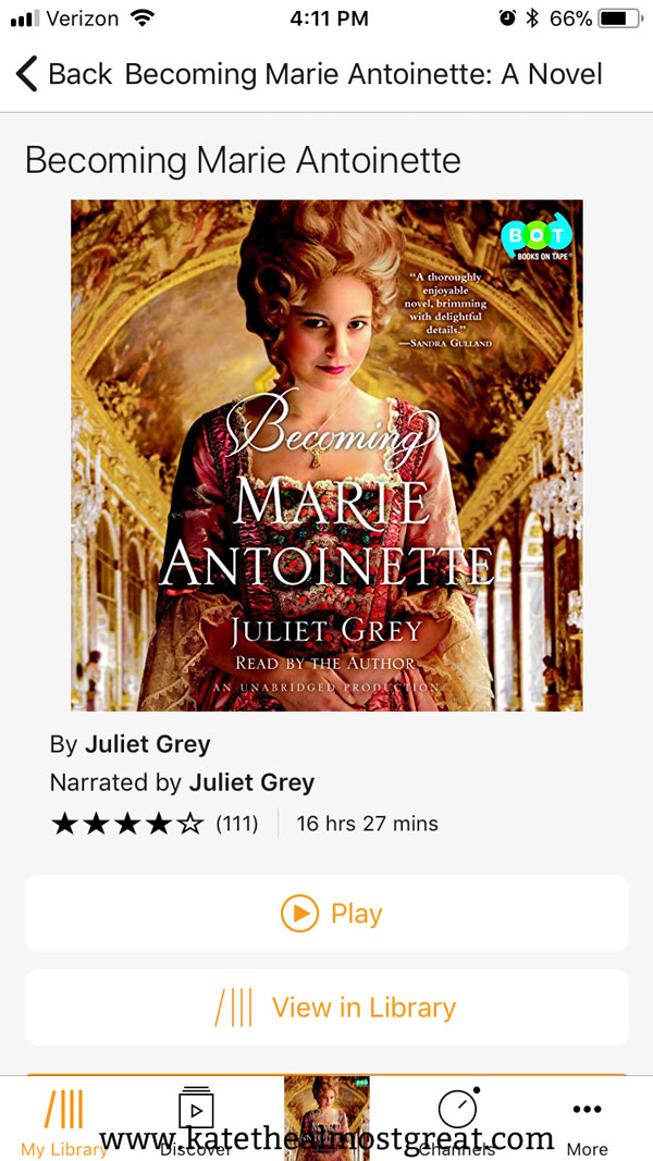 Recently, I've been listening to Becoming Marie Antoinette on Audible. So far, I'm enjoying it. Check out my full review thus far, as well as the other books I've been reading recently.