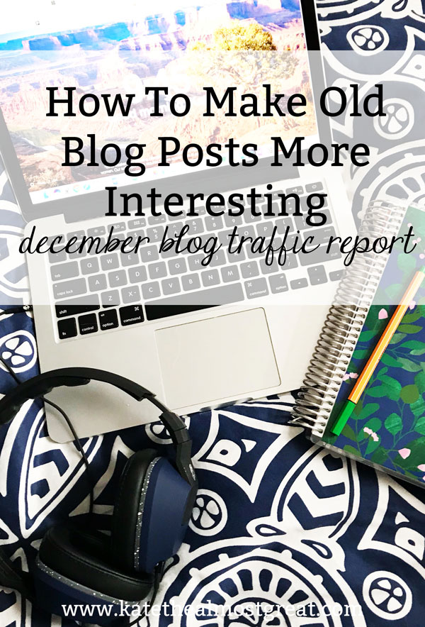 In this blog traffic report, Boston blogger Kate the (Almost) Great shares tips on how to make old blog posts more interesting, which can increase blog traffic.