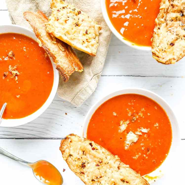 Homemade roasted tomato soup...but oh those parmesan toasts...