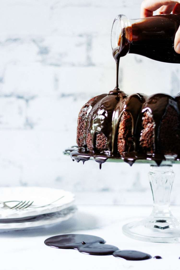 A rich and decadent malted chocolate cake drizzled in a hot fudge glaze.