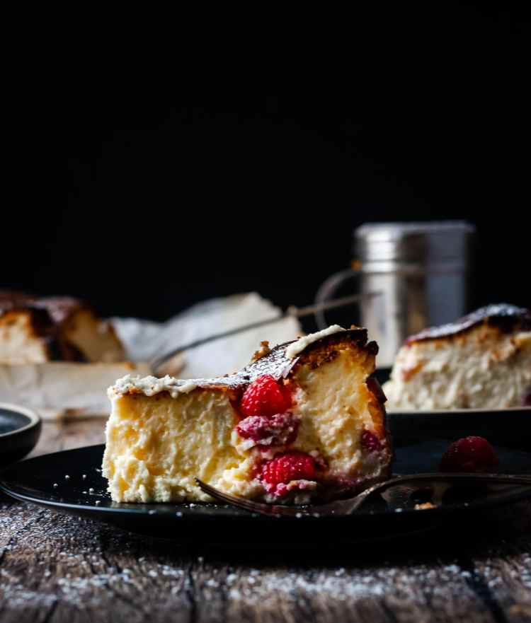 Rich and creamy on inside, my burnt Basque cheesecake with raspberries