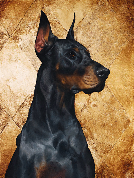 Doberman On Gold, Painting, Realistic, Black, Dog Portrait, Doberman, Dog, Gold, Golden, Black Dog, Luxury, Majestic, Oil ,Oil Original, Oil, Realistic, Pet Portrait, Painting For Sale, Sold, Fine Art, Buy A Painting, Wall Art, Gift, Christmas, Artist, Painting Art, Portrait Artist, Portrait, Contemporary Painting, Painting Gallery, Custom Art, Custom Paintings, Usa, America, American Art, Red, Kate Tova Artist, Canvas, Christmas Gift, Anniversary, New Year, Birthday Present, Unique, Exclusive, Expensive, Luxurious, Living Room, Guestroom, Kate Tova, Wedding Gift, Valentines Day Gift, Hand Painted, Art For Dining Room, Guest Room, Living Room, Bedroom, Canvas Print, Print, Painting On Canvas, Gift For Horse Lover