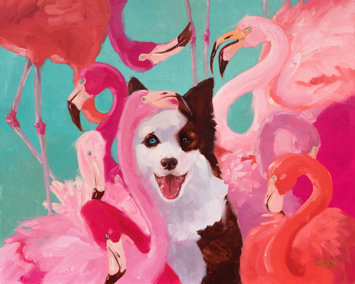 oil painting,pink flamingo, border collie, dog, dog and flamingos, border collie and flamingos, flamingo, art, bird, birds, oil on canvas, artwork, painting, original, realistic, painting for sale, sold, fine art, buy a painting, wall art, gift, christmas, artist, equine art, equine artist, contemporary painting, painting gallery, painting, custom art, custom paintings, nature, animals, animal, usa, america, american art, blue, turquoise, Kate Tova artist, christmas, gift, anniversary, new year, birthday present, unique, exclusive, expensive, luxurious, living room, guestroom, Kate Tova, wedding gift, Valentines day gift, hand painted, art for