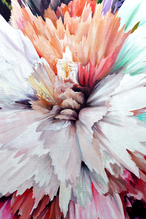 Acrylic, Red, Black, Abstract Painting , Canvas, Russian, Colorful, Explosion, Abstract, Flower, Large, Oil, comtemporary art, flower