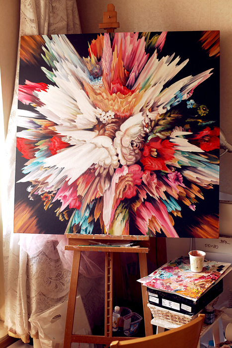 large painting, Acrylic, Red, Black, Abstract Painting , Canvas, Russian, Colorful, Explosion, Abstract, Flower, Large, Oil, contemporary art, flower