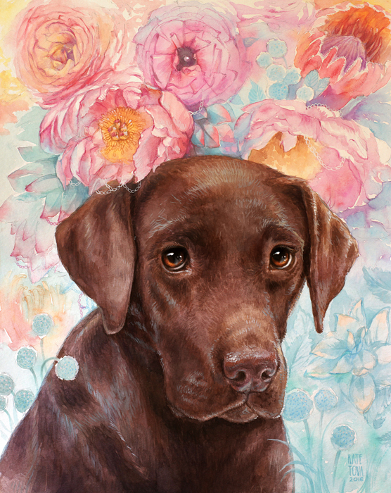 art, artwork, painting, Peonies, Peony, Pink, Sad, Brown, Chocolate, Chocolate Lab, Labrador, Eyes, Ranunculuses, Flowers, Lab, watercolor, watercolor portrait, pet portrait, Labrador, flowers, gift, present for dog lover