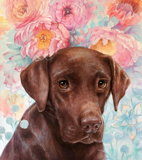 Custom WATERCOLOR Pet Portrait On CUSTOM Background
