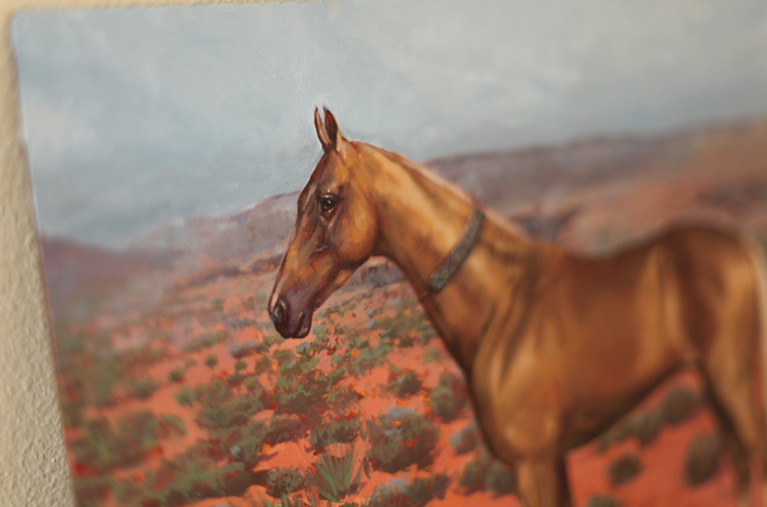 akhal teke, horse, gold coat, gold horse, painting, art, arizona, utah, horse shoe bend, desert, beautiful, present gift, equine art, painting, artwork, art for sale, exclusive, luxurious, red sand