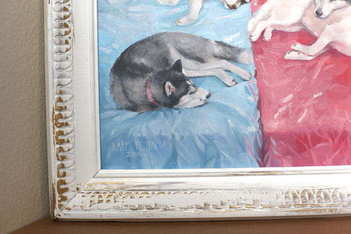 oil painting, white dog, husky, dog painting, Pink, Red, Sleep, Sleeping, Blue, Dog, Dogs, Gray, Huskies, Husky, Oil, dog art, dog portrait, oil portrait, oil on canvas, art, artwork, painting, original, realistic, painting for sale, sold, fine art, buy a painting, wall art, gift, christmas, artist, canine art, dog artist, contemporary painting, painting gallery, painting, custom art, custom paintings, animals, animal, usa, america, american art, blue eyes, turquoise, Kate Tova artist, christmas, gift, anniversary, new year, birthday present, unique, exclusive, expensive, luxurious, living room, guestroom, Kate Tova, wedding gift, Valentines day gift, hand painted, art for dining room, guest room, living room, bedroom, print, oil on paper