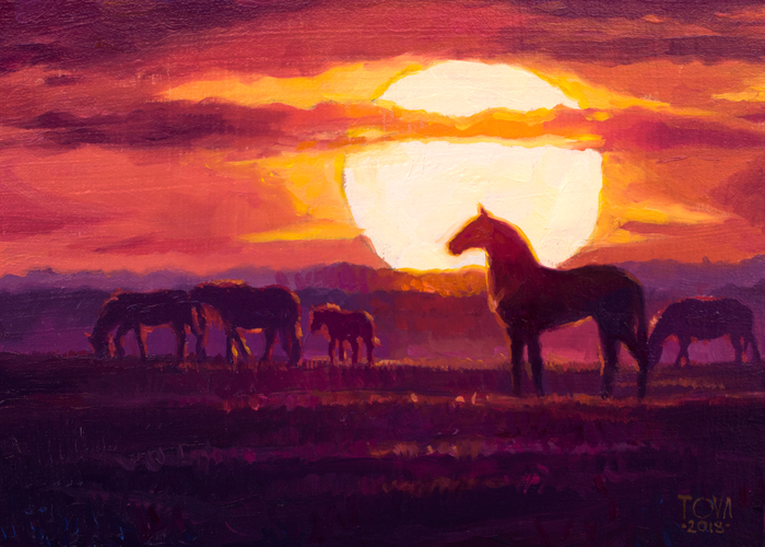 Oil Painting, Art, Painting, Sun, Sunset, Orange, Yellow, Clouds, Horses, Horse, Grazing, Field, Mountains, Art For Sale