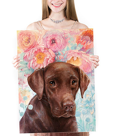 Custom pet dog portrait of chocolate black yellow lab labrador Oil on canvas wood background flowers luxurious expensive exclusive beautiful pet memorial gift present idea buy order online portrait from my your pictures photographs