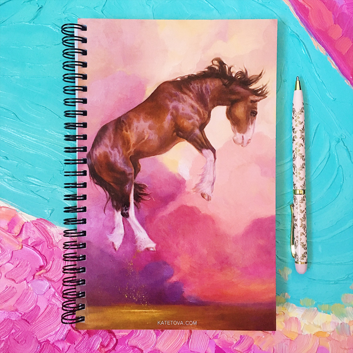 Horse Notebook Sketchbook Clydesdale painting buy from the artist exclusive equine theme gift present for horse