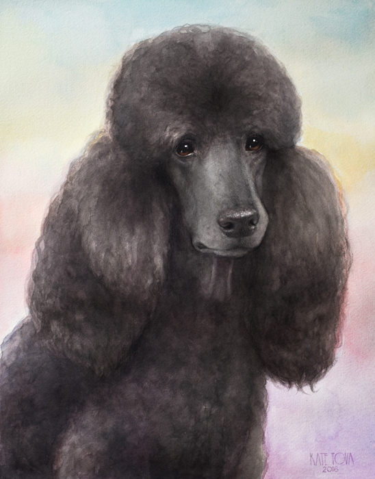 Custom Watercolor Pet portrait poodle handmade High Quality Realistic painting from your photographs Wall Art gift for animal dog cat lover christmas anniversary birthday present 2