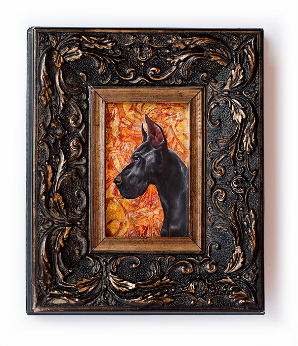 oil painting, Dog, Exclusive, Gold,great dane, black great dane,, Dog Lover, Luxurious, Oil, dog art, dog portrait, oil portrait, oil on canvas, art, artwork, painting, original, realistic, painting for sale, sold, fine art, buy a painting, wall art, gift, christmas, artist, canine art, dog artist, contemporary painting, painting gallery, painting, custom art, custom paintings, animals, animal, usa, america, american art, blue eyes, turquoise, Kate Tova artist, christmas, gift, anniversary, new year, birthday present, unique, exclusive, expensive, luxurious, living room, guestroom, Kate Tova, wedding gift, Valentines day gift, hand painted, art for dining room, guest room, living room, bedroom, print