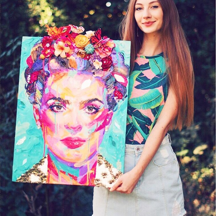 Frida, Painting, Contemporary, Colorful. Thick Paint, Multi Media, Beautiful, Flowers, Usa, Buy, Purchase, Art, Artwork
