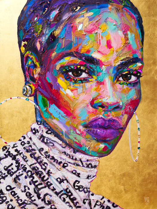 Art, Painting, Buy Artwork, Colorful, Vibrant, Woman, Portrait, Expressive, Usa, America, Black Woman, Georgia, Gold