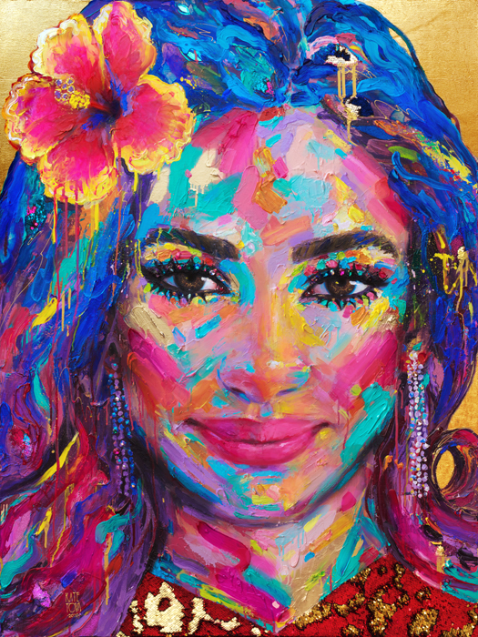 Colorful Custom Painting, Woman, Flowers, Hibiscus, Colorful, Beautiful, Contemporary