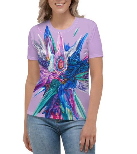 "Women's T-shirt ""Blue Roses Glitch"""